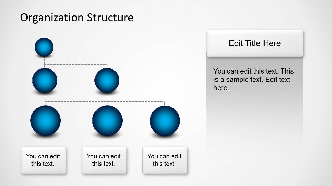 organization structure template with spheres for powerpoint slidemodel