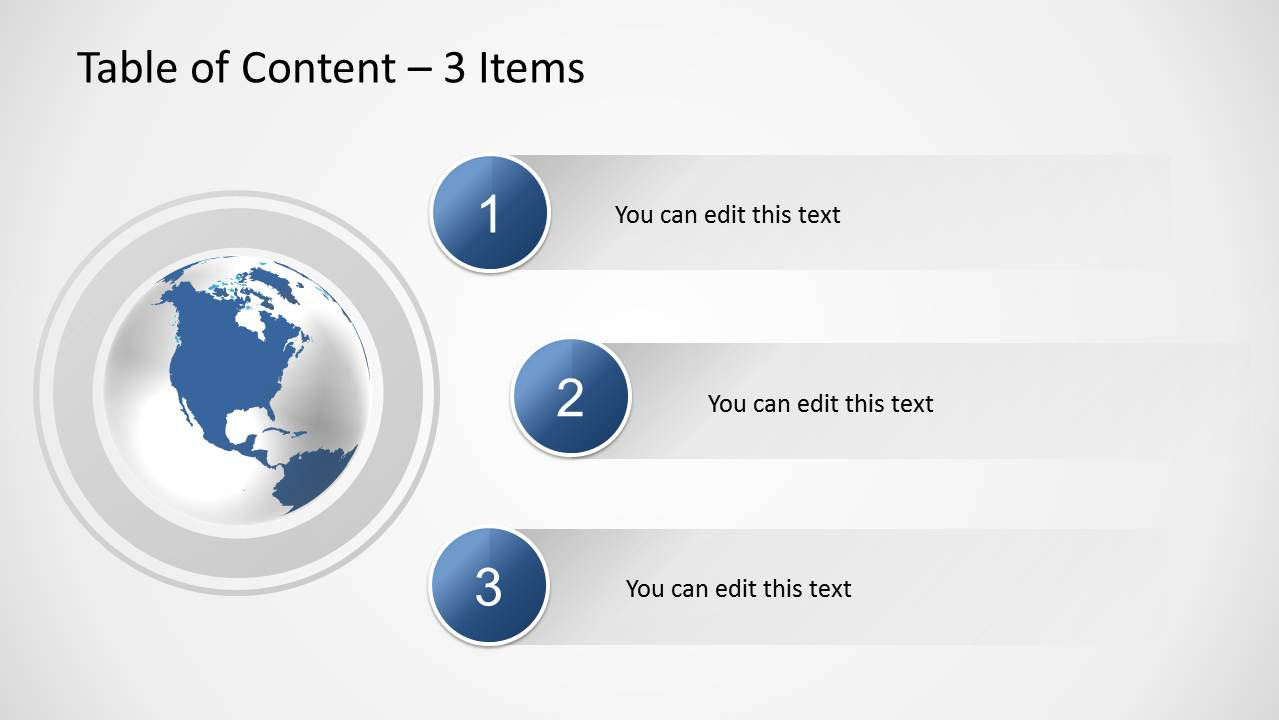Table of content slides for powerpoint slidemodel creative slide design with 3 bullet points and globe illustration in powerpoint toneelgroepblik Choice Image