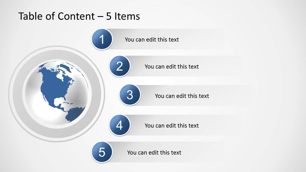 ... Table Of Content And 4 Bullet Points; 5 Items Agenda Slide Design For  PowerPoint