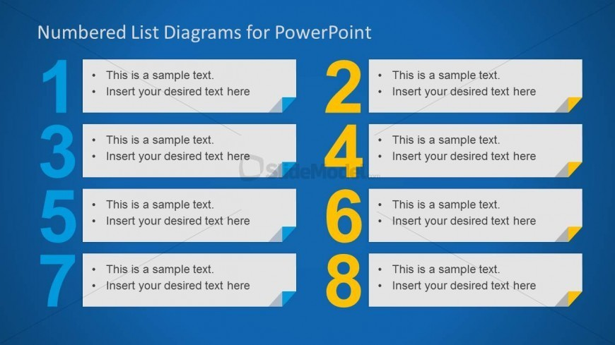 8 Elements In A Numbered List For PowerPoint SlideModel
