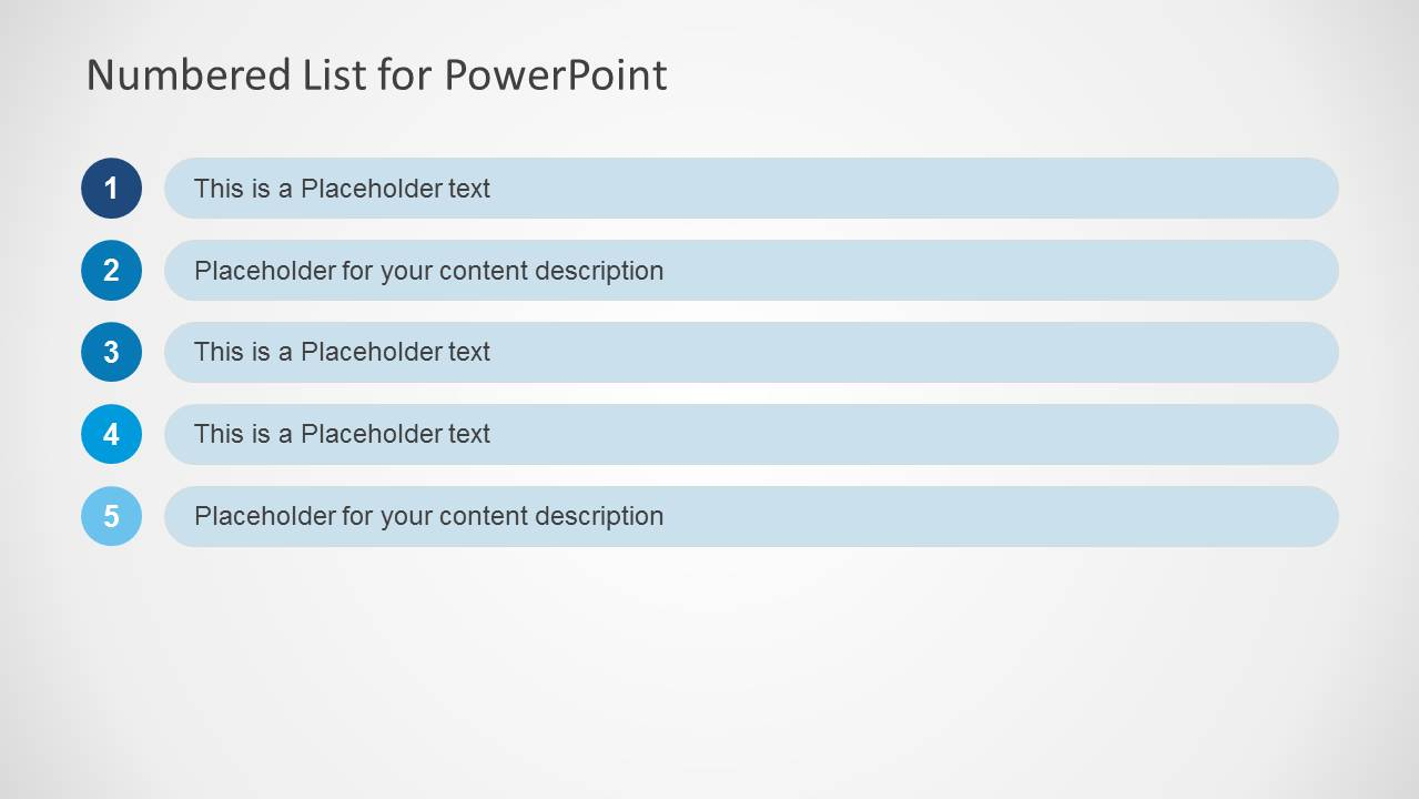 PowerPoint Table with Five Rows