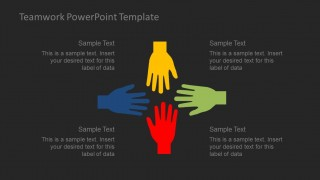 Teamwork powerpoint template slidemodel creative and instilling teamwork powerpoint template motivates the audience to develop the art of teamwork colorful flat hands gesture for unity and toneelgroepblik Images