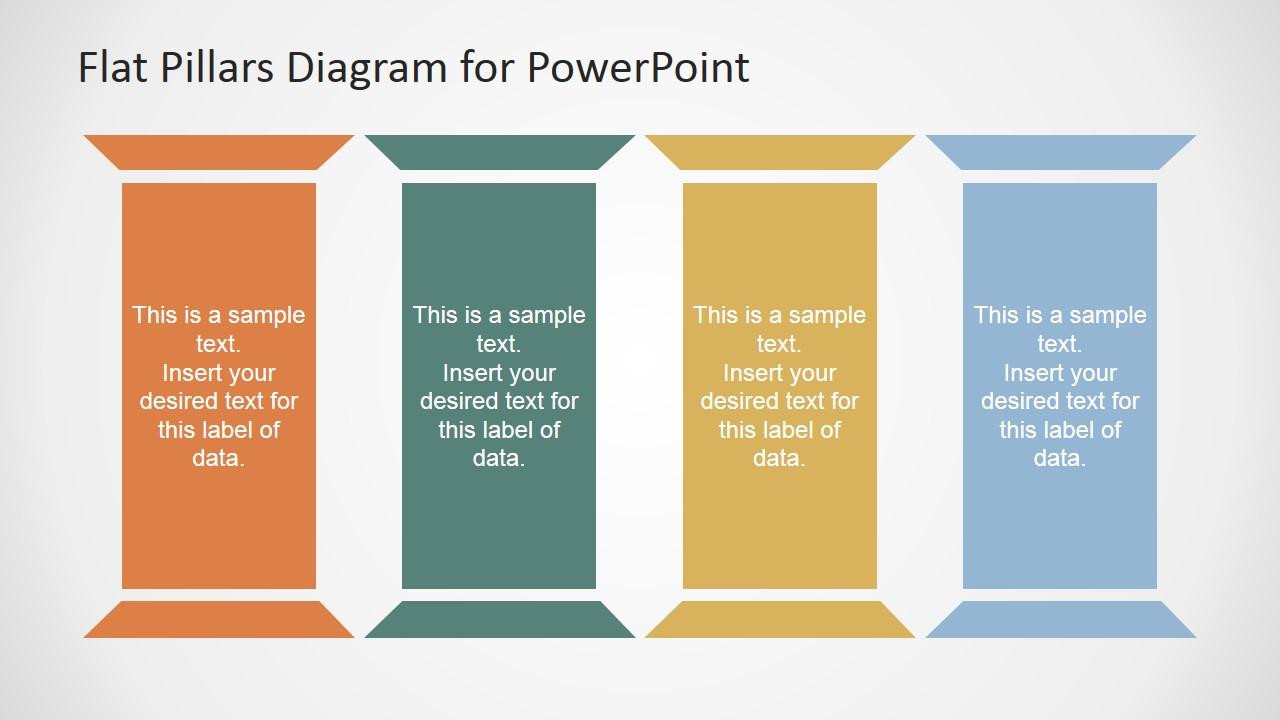 Enlarged four pillars perfect for a marketing plan slidemodel toneelgroepblik
