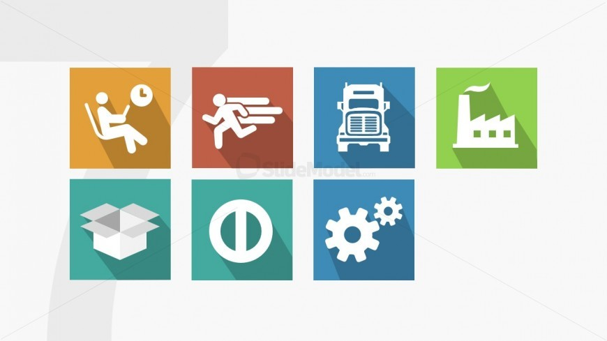 Powerpoint Icons Of Seven Muda Waste Types Slidemodel