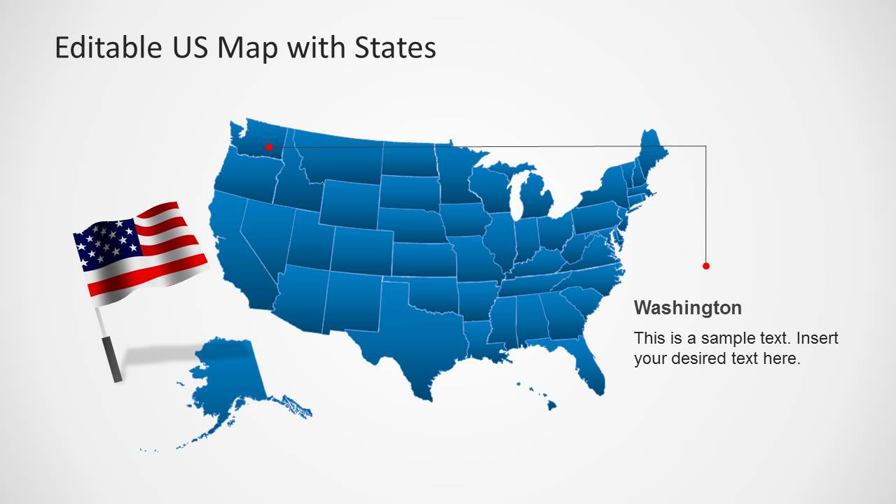 Editable Us State Map Powerpoint US Map Template for PowerPoint with Editable States   SlideModel
