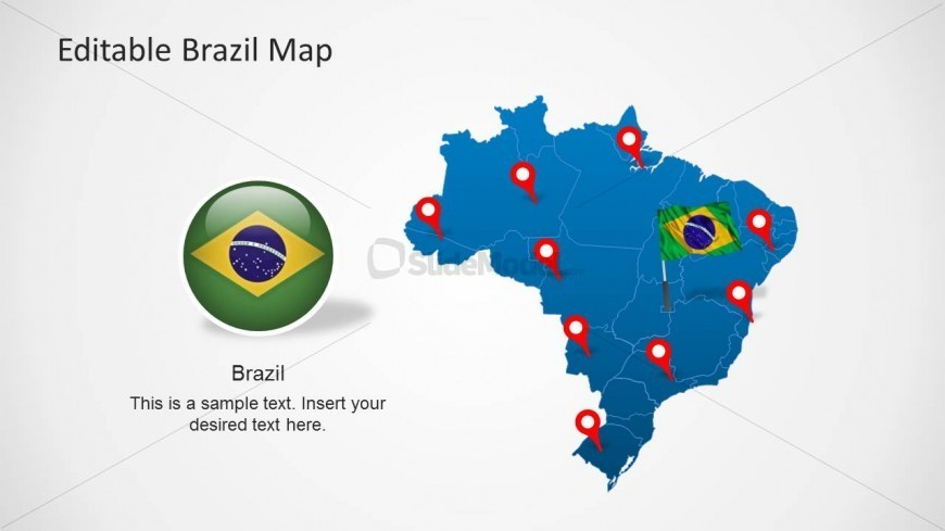 Editable PowerPoint Map of Brazil