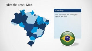 Editable PowerPoint Map of Brazil with Individual States