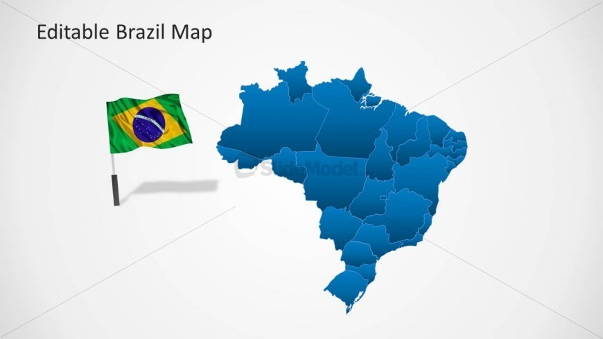PowerPoint Map of Brazil with Flag Cliapart