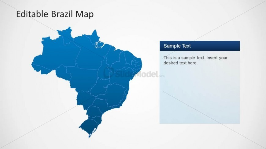 Editable PowerPoint Map of Brazil Political Outline
