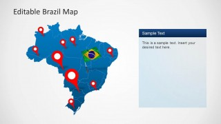 PowerPoint Map of Brazil with GPS Icons