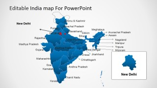 India Map for PowerPoint & New Delhi