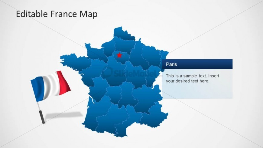 France Map for PowerPoint with Flag Icon