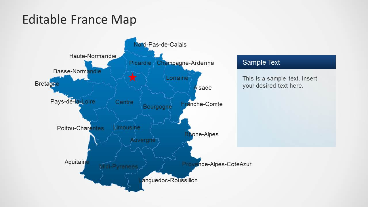 editable france map template for powerpoint
