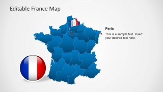 PowerPoint Map of France With Flag Icon at Paris