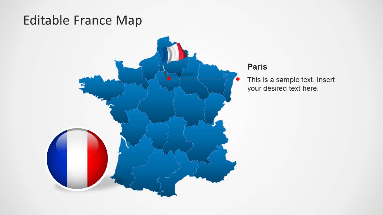 Editable france map template for powerpoint slidemodel powerpoint map of france with flag icon at paris toneelgroepblik Gallery