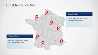 PowerPoint Map of France with States Limits and location markers