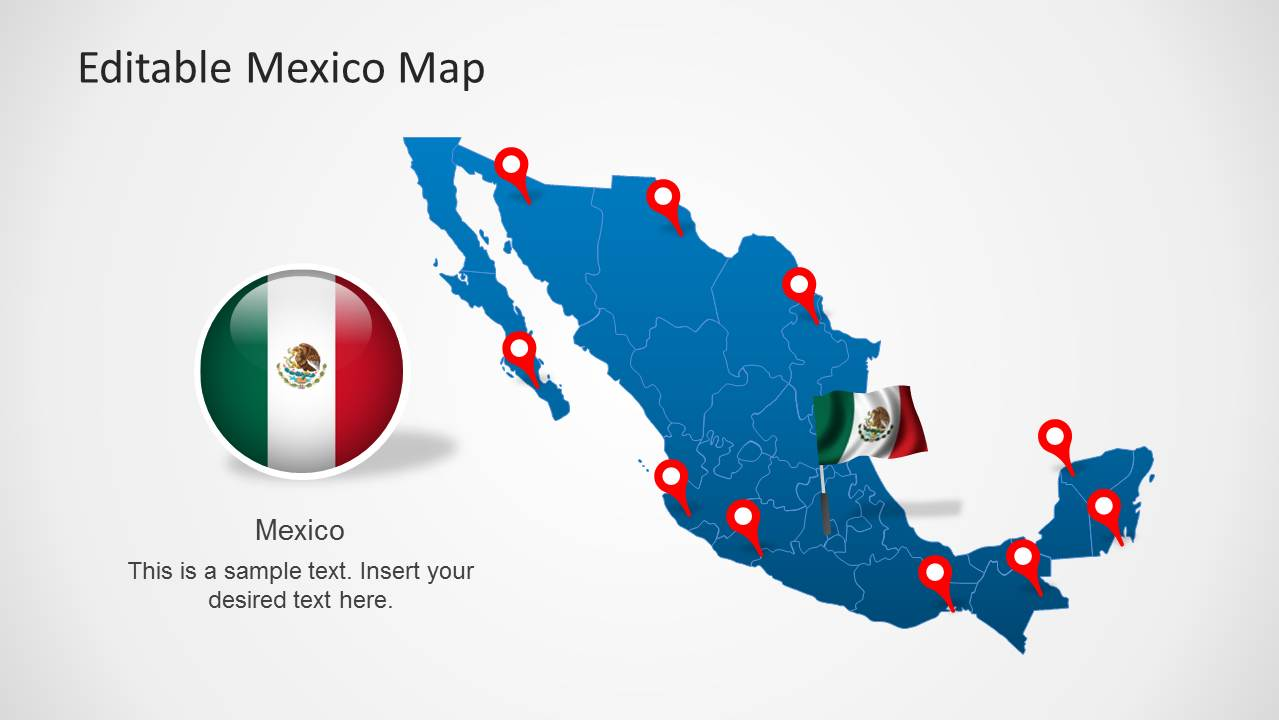 North america maps for powerpoint editable mexico map template for powerpoint toneelgroepblik Image collections