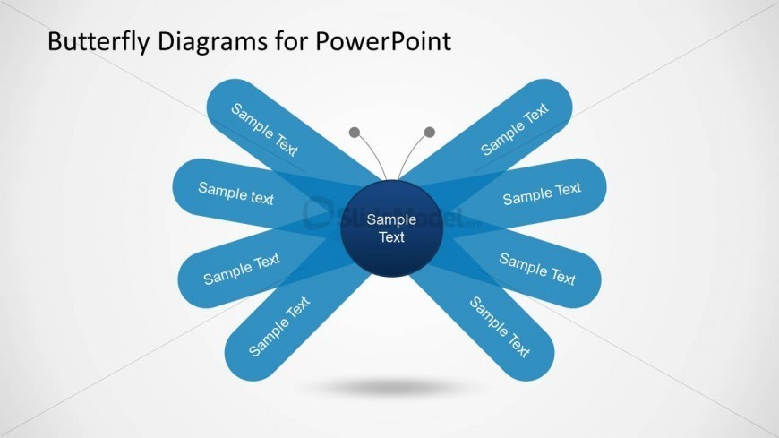 Simple Butterfly Diagram For Powerpoint With Wings