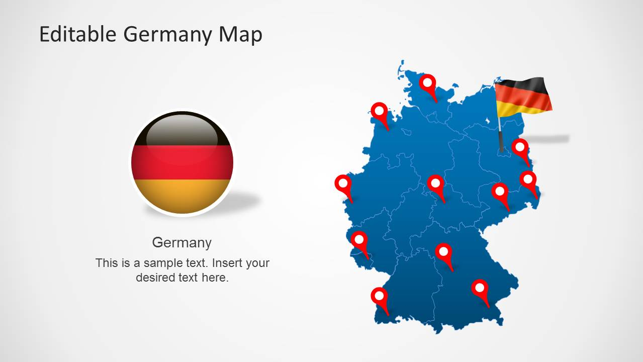 Editable germany map template for powerpoint slidemodel powerpoint map of germany powerpoint template toneelgroepblik Gallery