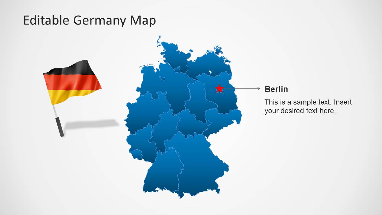 Germany On Map Of World.Editable Germany Map Template For Powerpoint