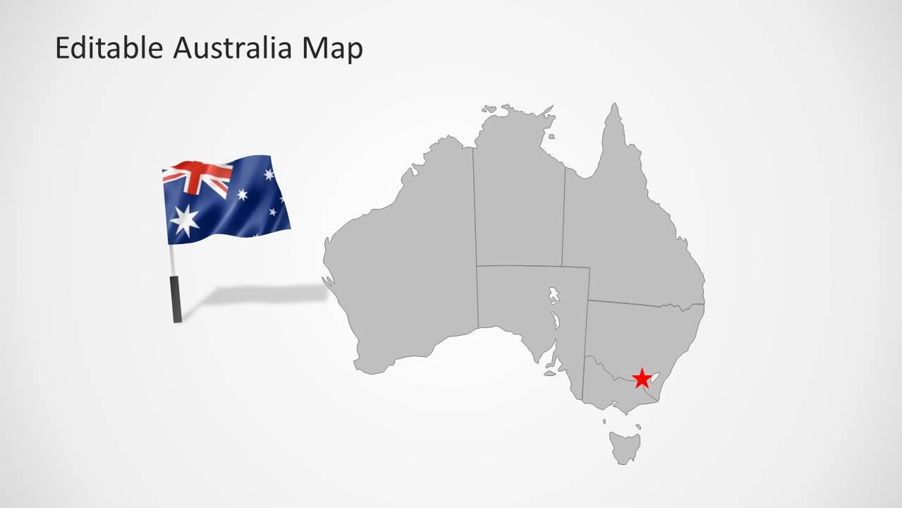 Australia Map Grey.Australia Map Template For Powerpoint Slidemodel