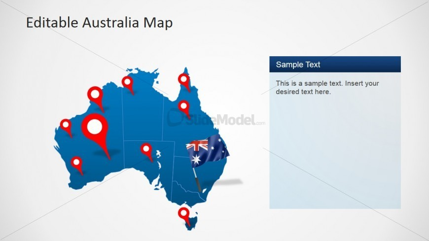 PowerPoint Australia Map with GPS Icons