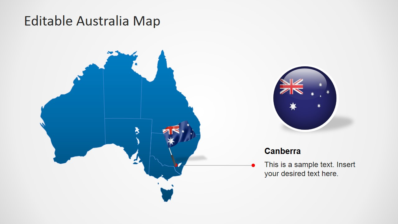 australia ppt map with flag icon