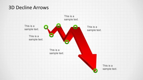 Red Decline Zig Zag Arrow for PowerPoint Grid