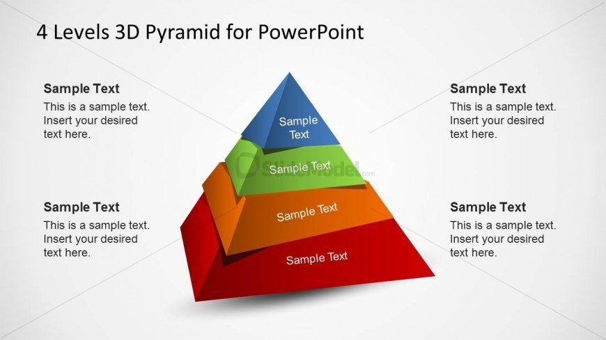 4 Levels 3D Pyramid Template for PowerPoint with misaligned levels