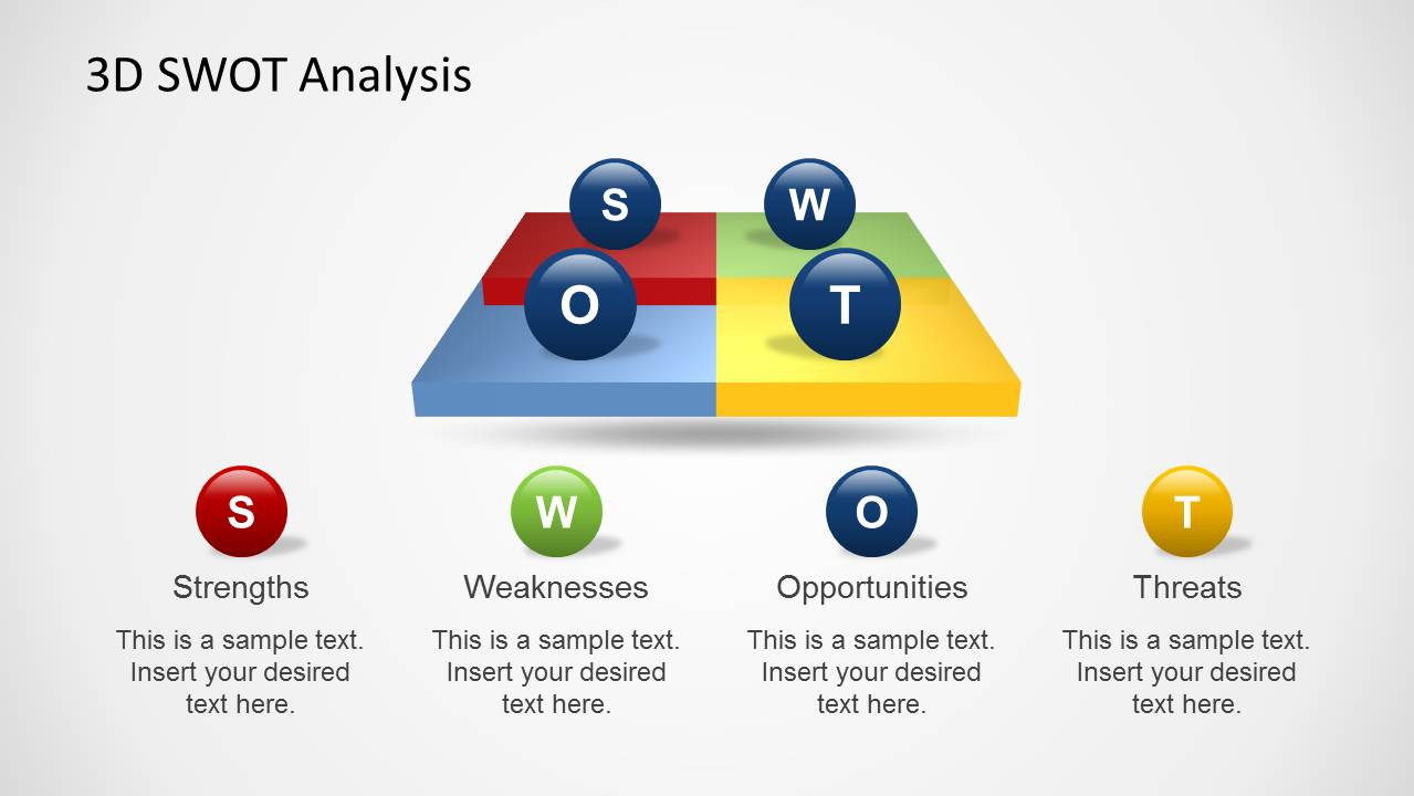 Creative 3D SWOT Analysis Slide Design for PowerPoint