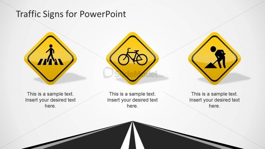 PowerPoint Crosswalk, Bicycle Under Construction Traffic Signs