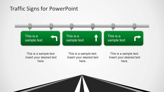 Three Road Signs PowerPoint Template