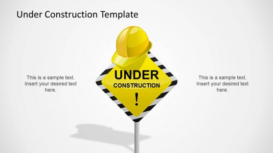 Under Construction Sign with Safety Helmet
