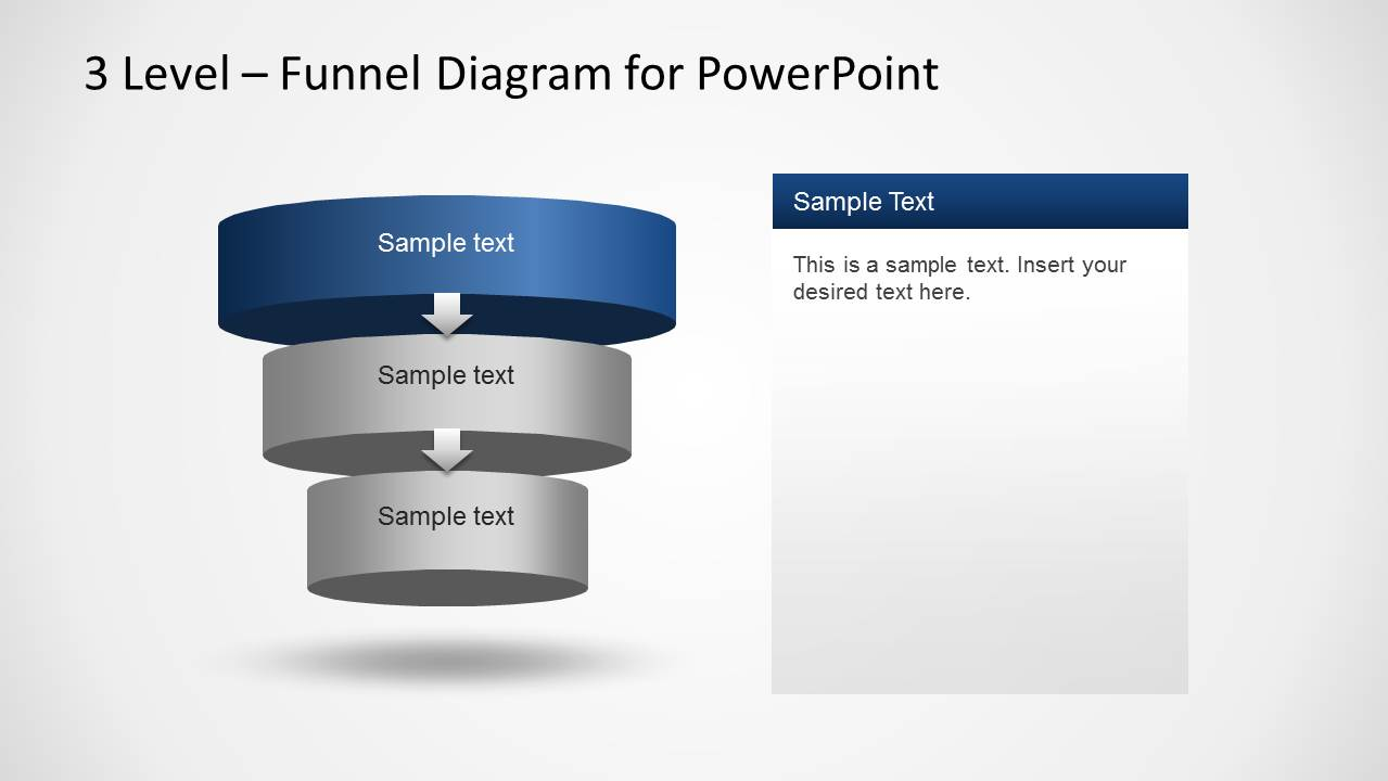 3 Level Funnel Diagram Template For Powerpoint