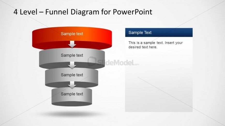 Four 3D Cylindrical PowerPoint Layers Funnel