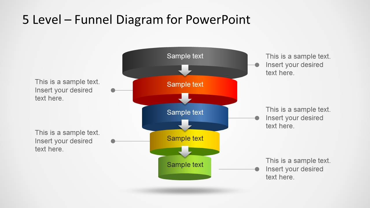 5 level funnel diagram template for powerpoint - slidemodel, Modern powerpoint
