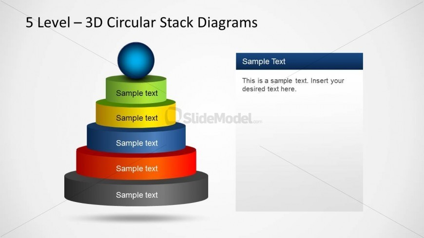 5 Levels 3D Pyramid Slide Template for PowerPoint with Sphere on Top