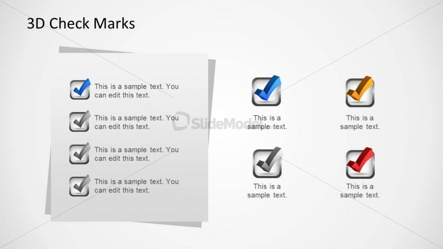 Creative Layout with 3D Check Marks for PowerPoint & Task List