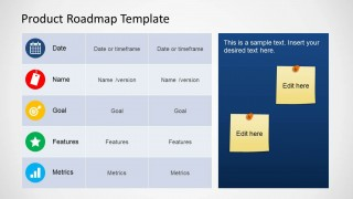 Product Roadmap Table for PowerPoint with Sticky Notes