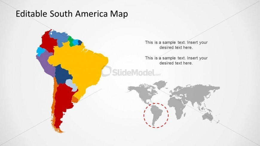 South America Map with World Map for PowerPoint