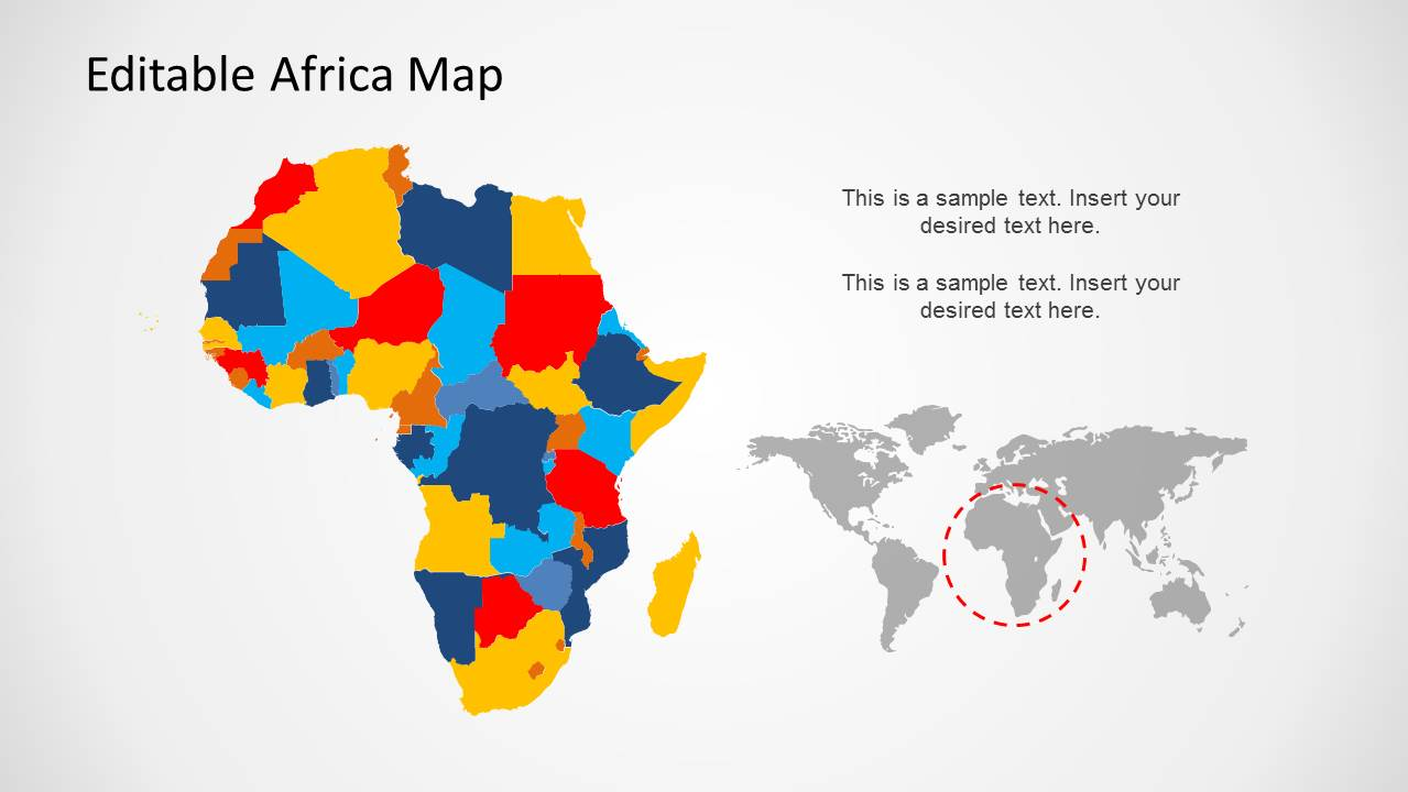 africa map editable ppt