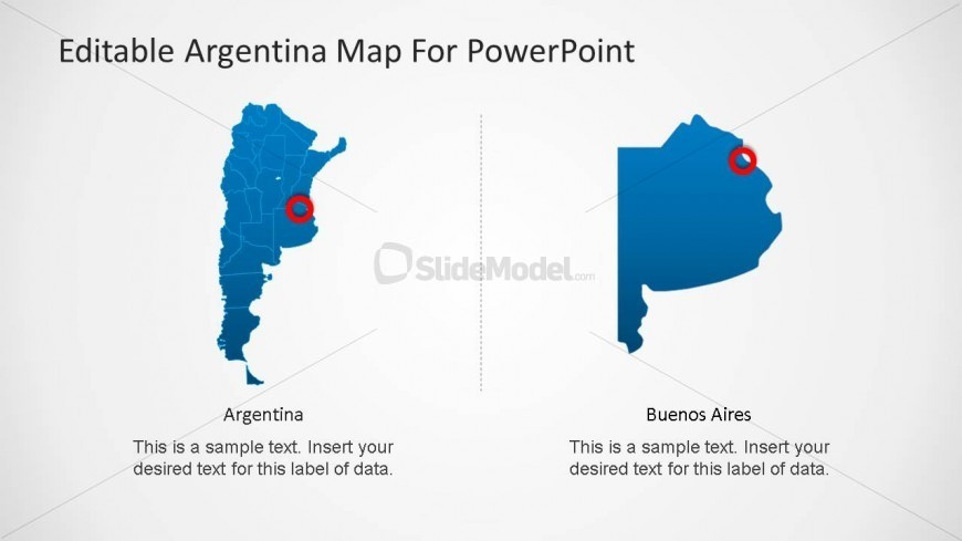 PowerPoint Map of Argentina with Bueno Aires Marker