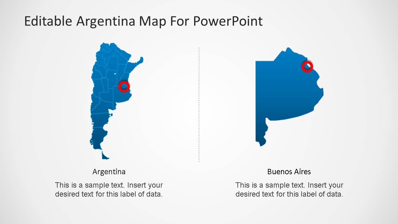 Argentina map template for powerpoint slidemodel powerpoint map of argentina with bueno aires marker gumiabroncs Gallery