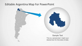 PowerPoint Argentina Map with State Highlight