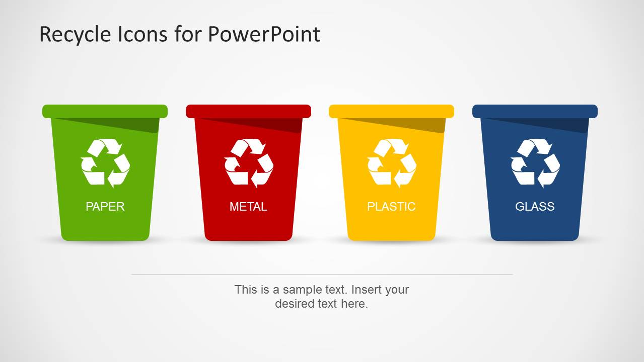 recycle template for powerpoint with trash can icons