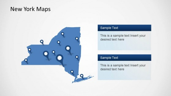 Professional PowerPoint Map of New York