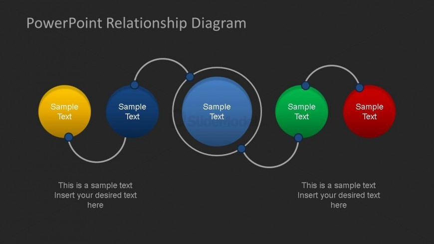 PowerPoint Relationship Diagram Linear Connection Dark