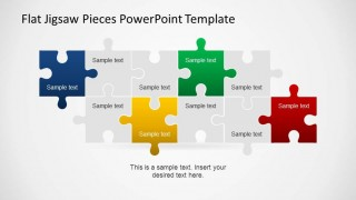 Two line of interlocking jigsaw pieces created as PowerPoint Shapes.