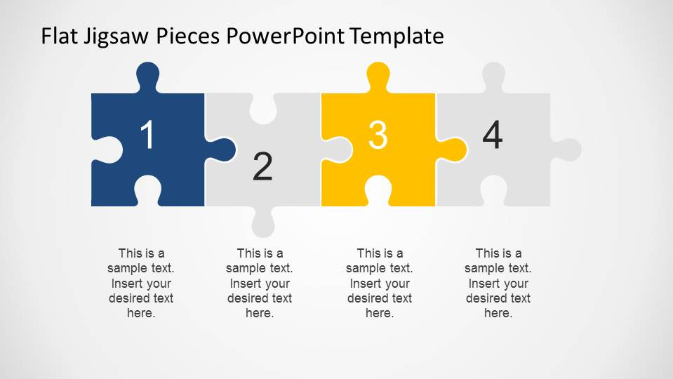 4 step powerpoint diagram created with jigsaw pieces slidemodel. Black Bedroom Furniture Sets. Home Design Ideas