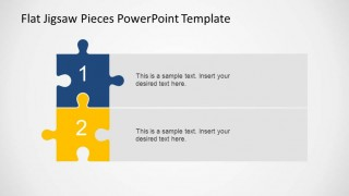 Vertical 2 steps PowerPoint diagram created with colorful jigsaw pieces and textboxes.